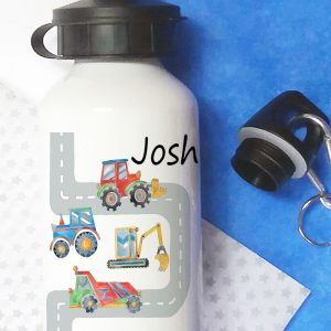 personalised digger school water bottle