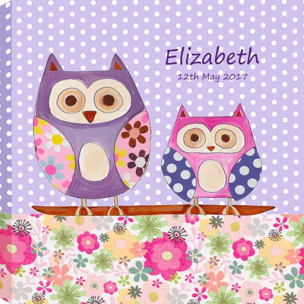 personalised girls canvas hoot owl