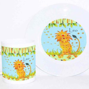 Lion Personalised Plate and Cup Set