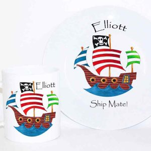 Pirate Personalised Plate and Cup