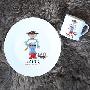 personalised dinner plate and cup