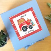 personalised tractor keepsake box