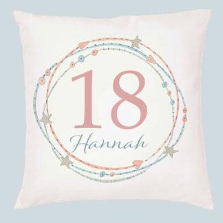 18th circle personalised cushion