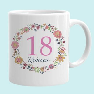 Floral Circle 18th Birthday Cup