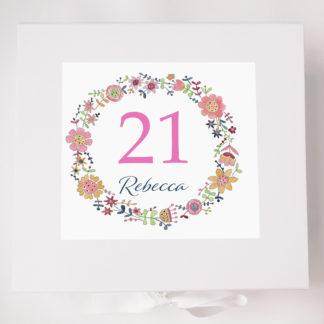 FLoral Circle 21 Birthday Keepsake Box