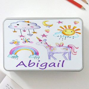 girls personalised unicorn tin.