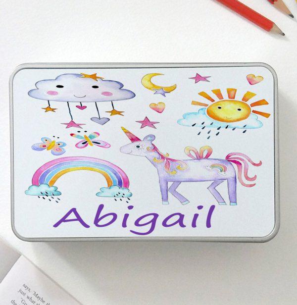girls personalised unicorn tin.
