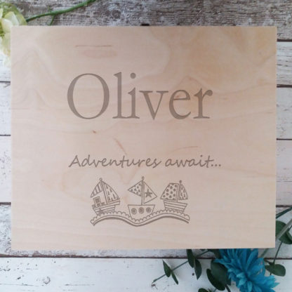 Let the adventure begin and this personalised wooden memory box is the perfect way to treasure all those happy memories along the way. The memory box is individually hand finished to order in our design studio so any name and special details can be added to the storage box.