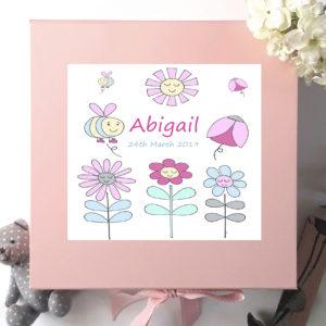 personalised baby girl keepsake box