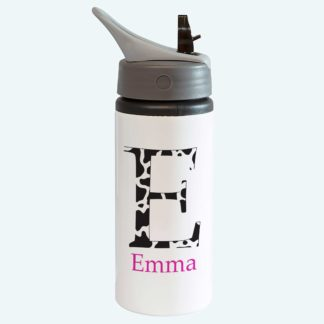 Cow Print Bottle with Straw