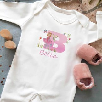Baby Girls Personalised Dancer sleepsuit