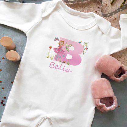 Baby Girls Personalised Dancer sleepsuit
