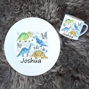personalised dinosaur plate and cup