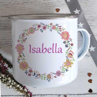 floral camping mug