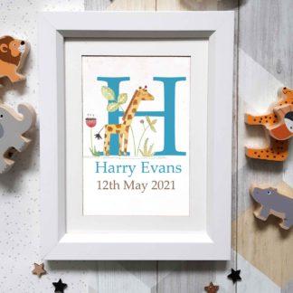 Framed Name Giraffe Personalised Art
