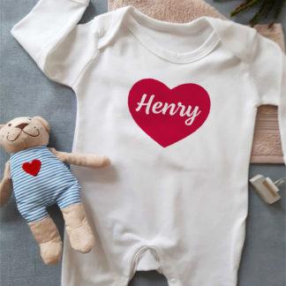 heart name sleepsuit
