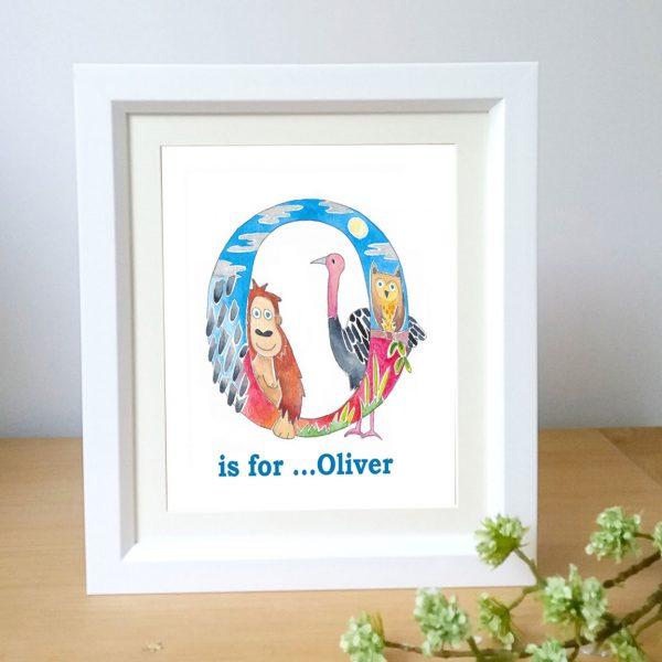 animal alphabet framed name picture