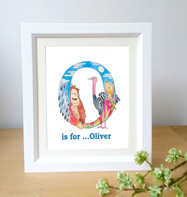 animal alphabet framed name picture