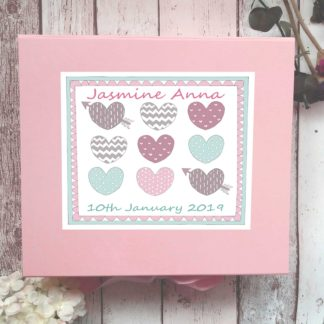 Pastel hearts keepsake box