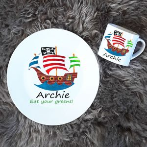 personalised children's pirate dinner set
