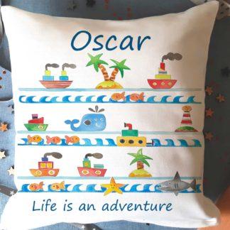 Personalised Sea Ships Cushion