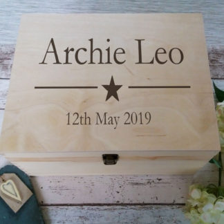 wooden personalised keepsake box