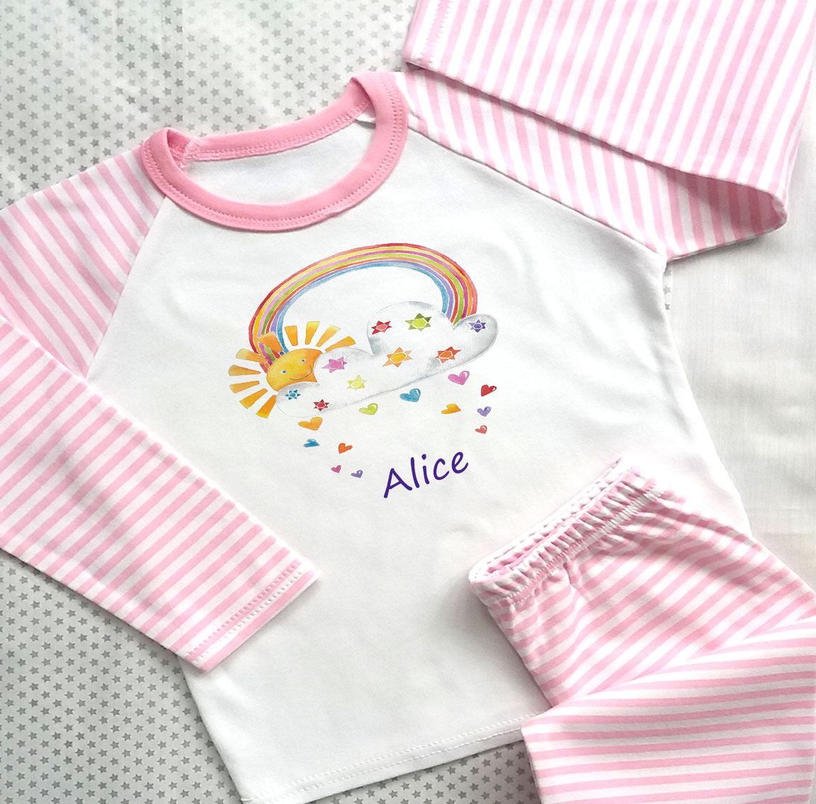 Personalised Girls Pink Pyjama Set