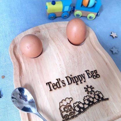 Train Personalised Engraved Breakfast Egg Board