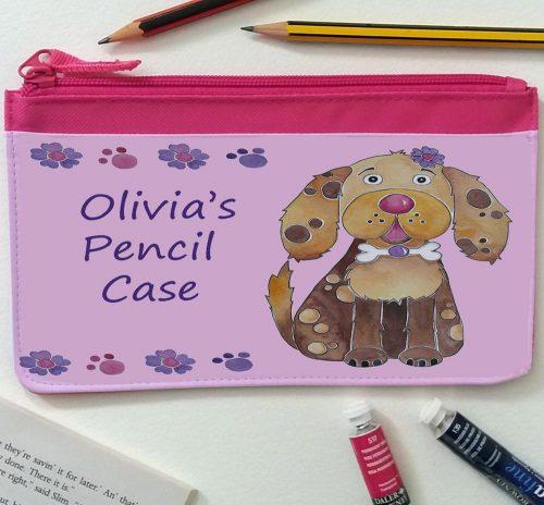 girls pink pencil case