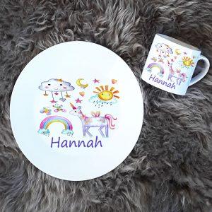 girls personalised dinner set