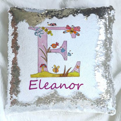 personalised alphabet sequin reveal cushion