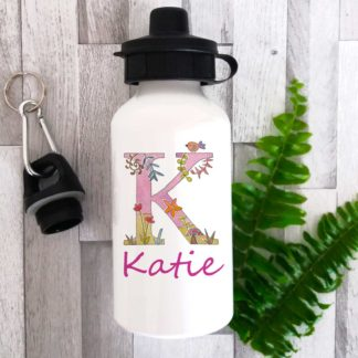 girls personalised alphabet bottle