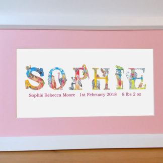 personalised name framed picture for special occasions