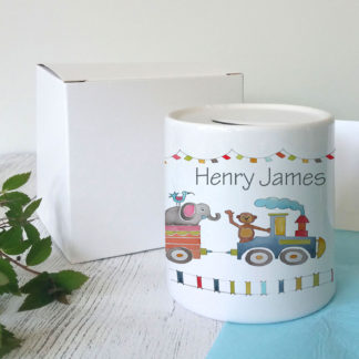 Personalised animal train money box