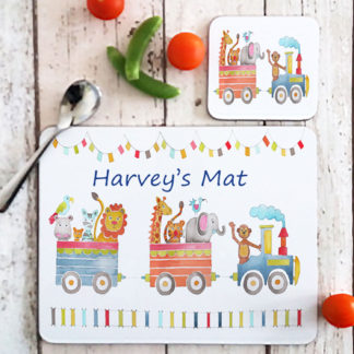 animal train table mat
