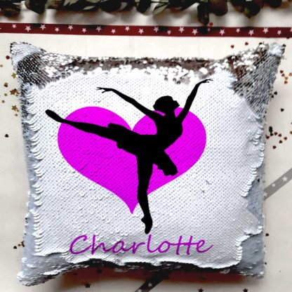 ballet dancer sequin cushion