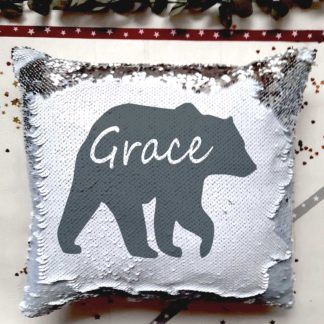 personalised bear sequin cushion