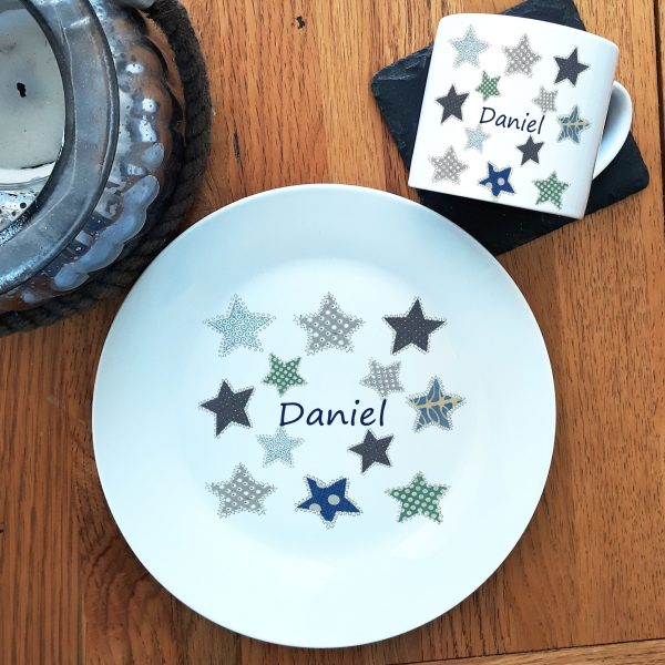 personalised plate and cup for boy
