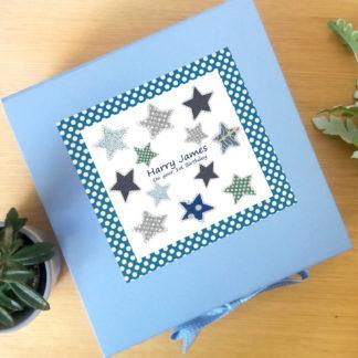 large blue baby keepsake box