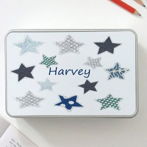boys personalised tin