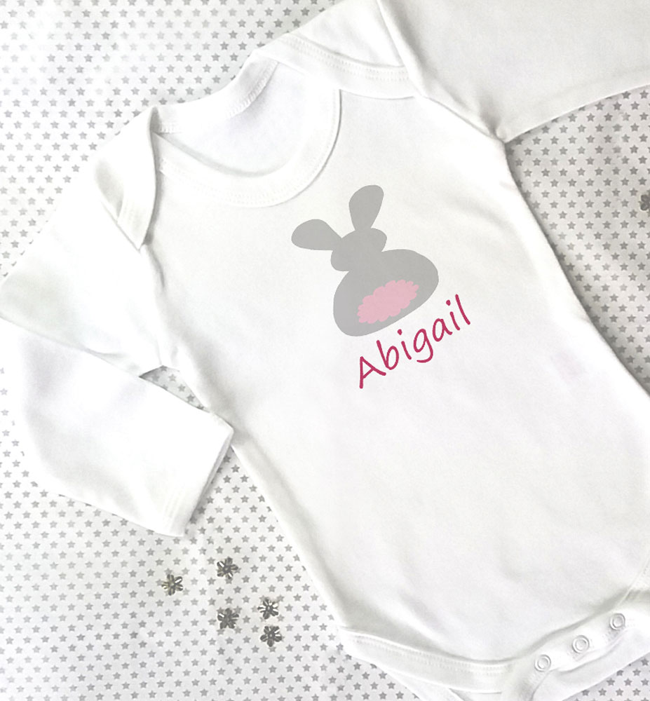 72767d50f You're viewing: Personalised Baby Grow – Bunny £8.95