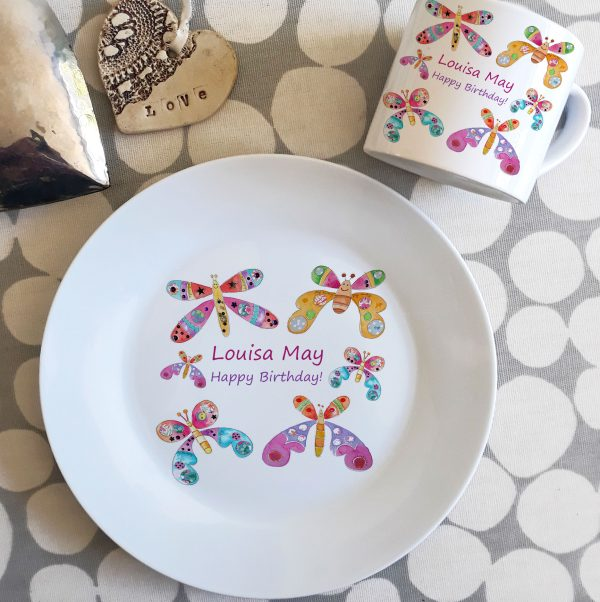 girls buterfly personalised dinner plate and matching cup