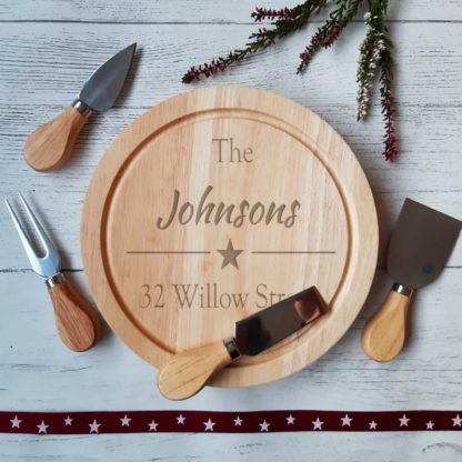 Personalised engraved cheese board set