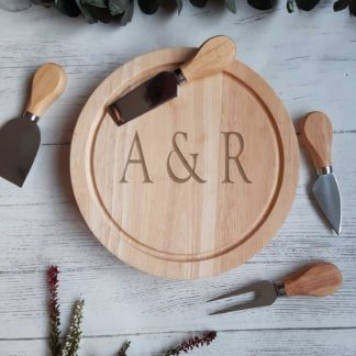 ininitials engraved cheese board
