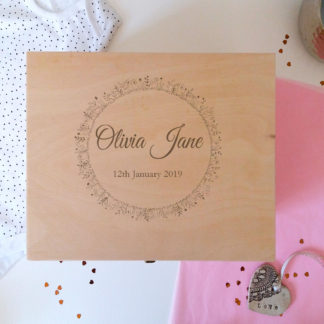 personalised baby girl wooden keepsake box