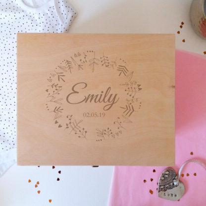 baby girl wooden keepsake boxes
