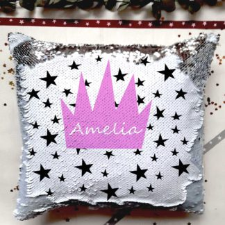 crown personalised sequin reveal cushion