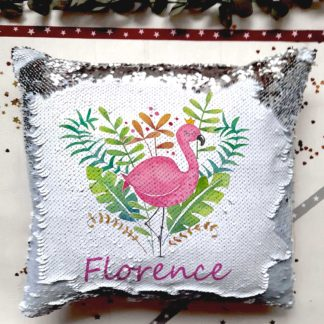 Pink Flamingo Sequin Cushion