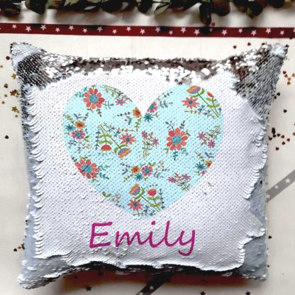 heart personalised sequin cushion