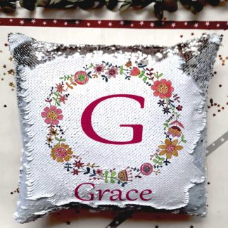 floral circle sequin cushion